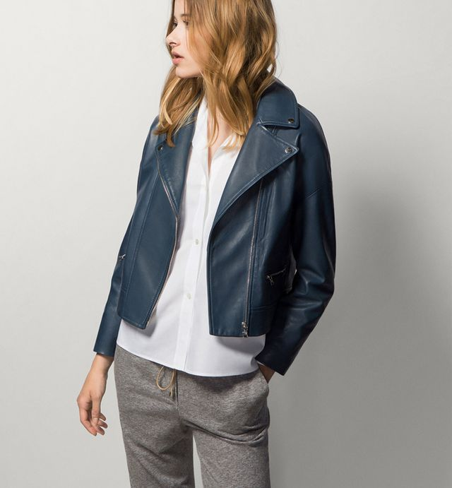Massimo Dutti Leather Jacket With Wide Lapel