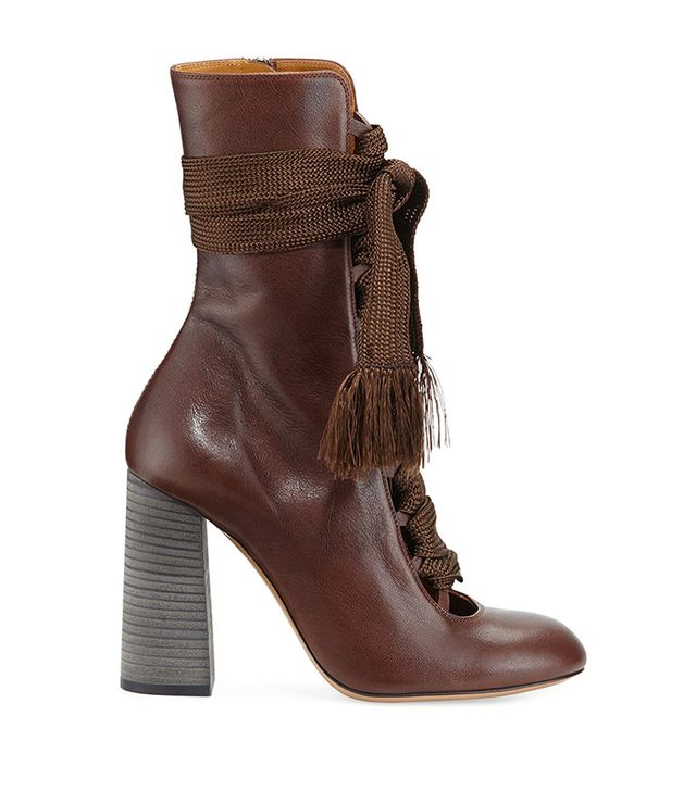 Chloé Leather Lace-up Ankle Boot
