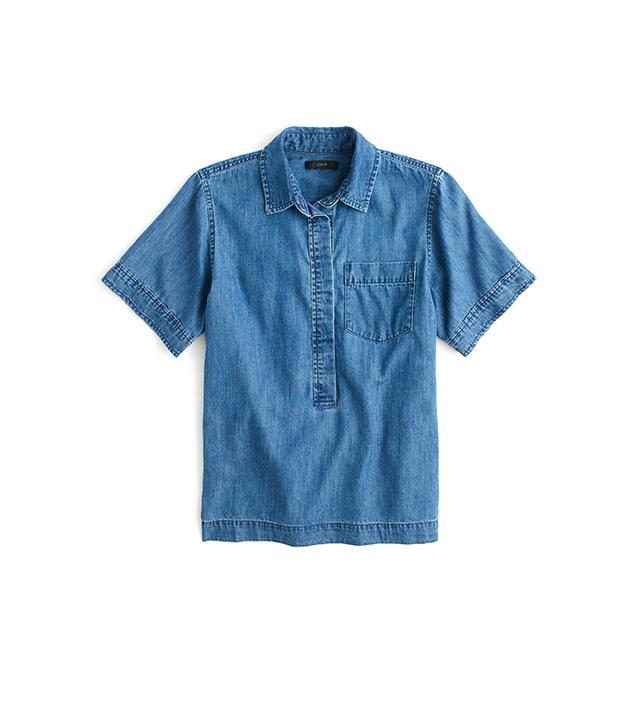 J.Crew Short-Sleeve Cropped Denim Popover Shirt