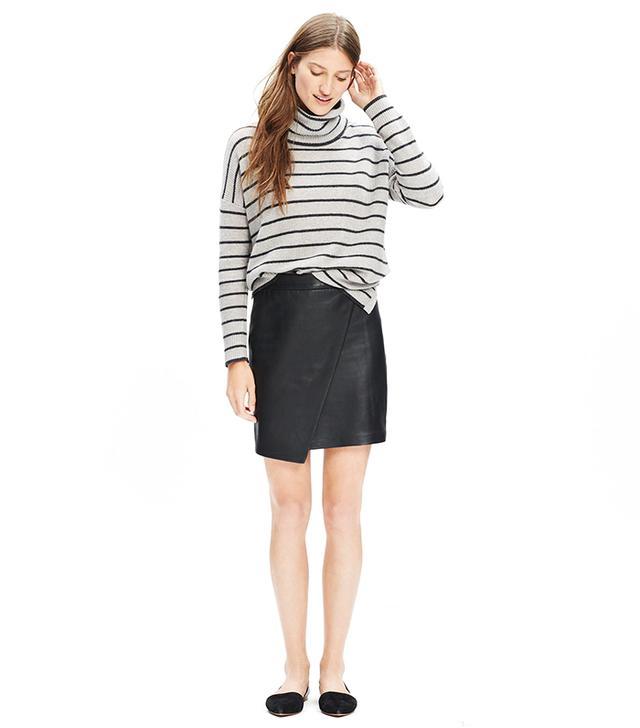 Madewell Leather Asymmetrical Mini Skirt