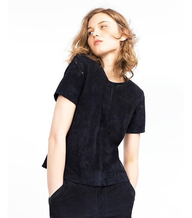 Zara Suede Cutwork Top
