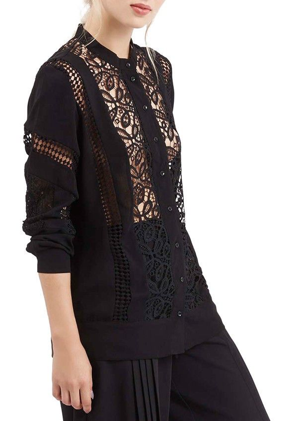 Topshop Sheer Lace Panel Shirt