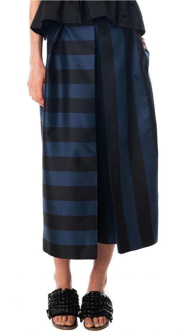 Tibi Escalante Striped Silk Culottes