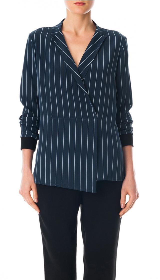 Tibi Striped Silk Wrap Blouse