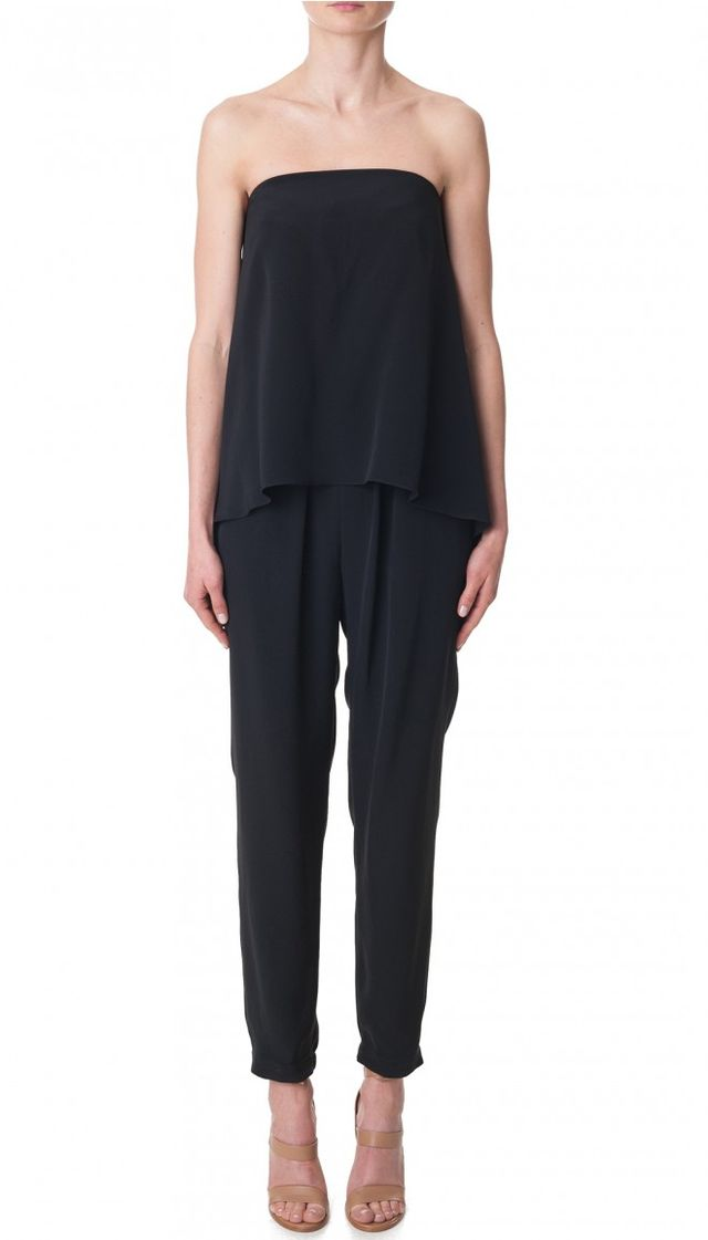Tibi Strapless Silk Jumpsuit