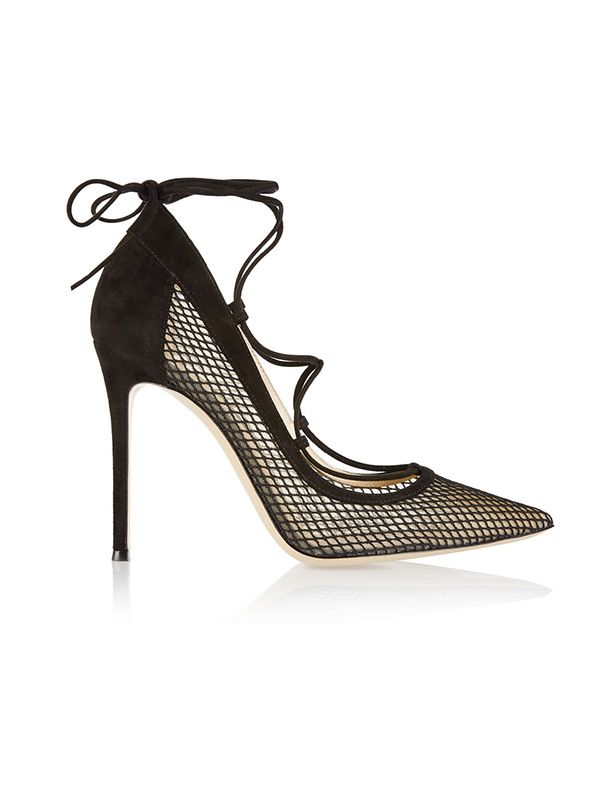 Gianvito Rossi Lace-up Suede and Mesh Pumps