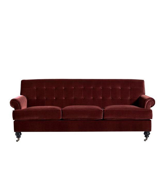 """Whitby 89"""" Velvet Sofa in Wine"""