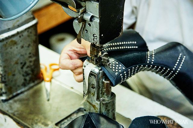 The pieces are then stitched together to form the upper portion of the boot, and the side zipper is attached. The studs are then machine-attached one by one, and once that's finished,...