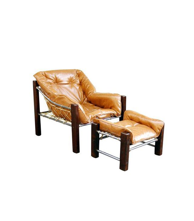 Jean Gillon Leather & Wood Lounge Chair & Ottoman