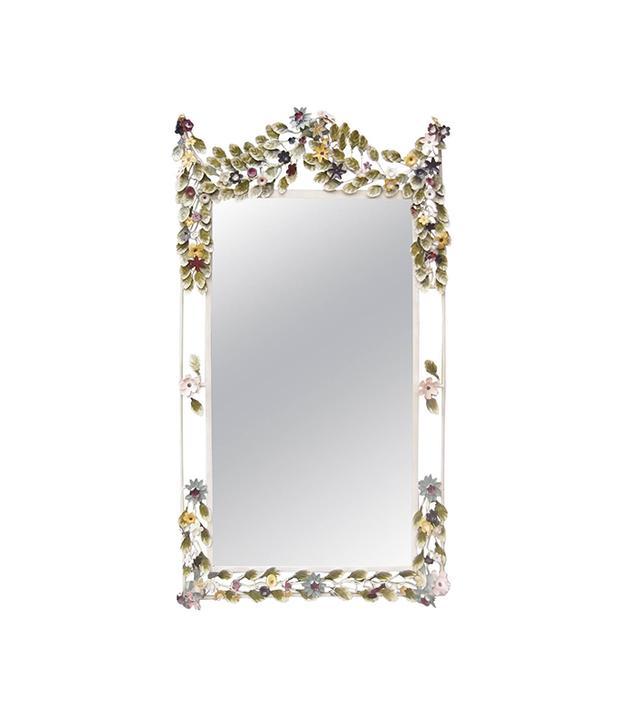Vintage Italian Tole Painted Floral Mirror