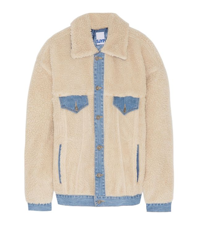 Steve J & Yoni P Denim-Trimmed Faux Shearling Jacket