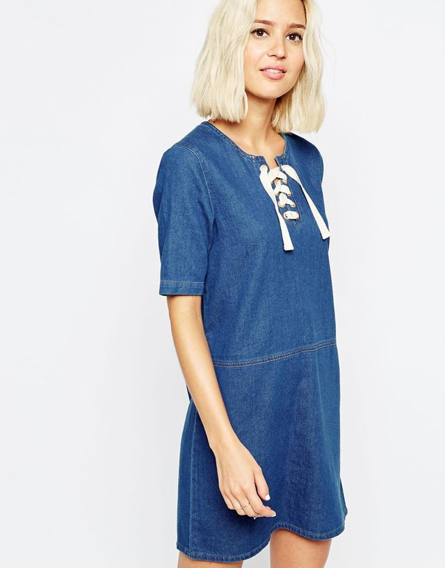 ASOS Denim Tunic Lace Up Front Dress
