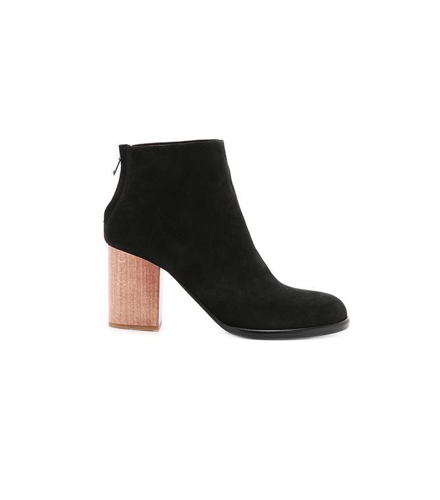 Helmut Lang Zip Ankle Wood Heel Boots