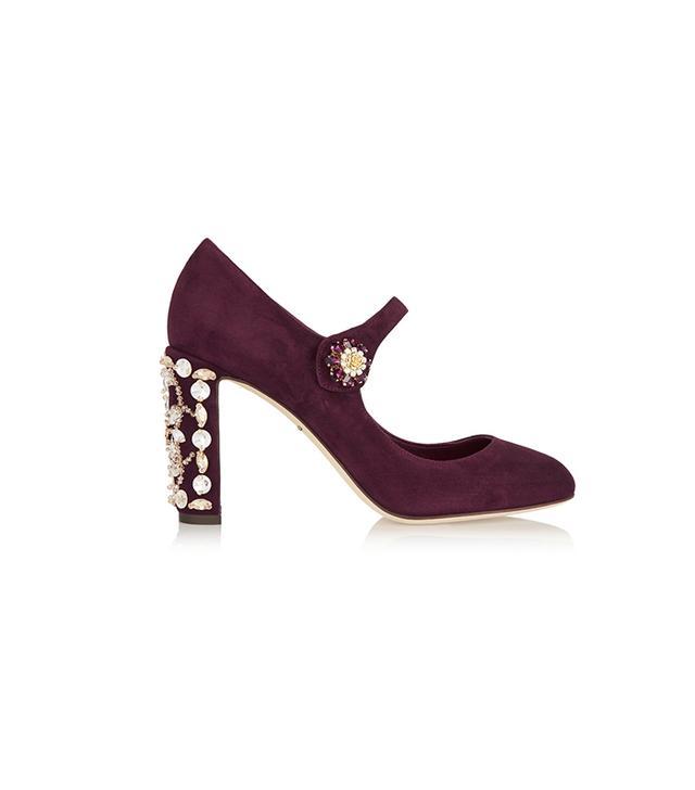 Dolce & Gabbana Embellished Suede Mary Janes