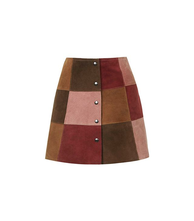 Topshop Suede Patchwork A-Line Skirt