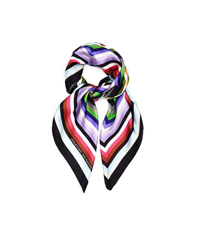 Jonathan Saunders Striped Silk-Twill Scarf