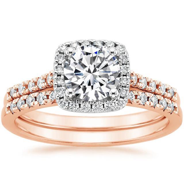 Brilliant Earth 14K Rose Gold Mixed Metal Sonora Halo Diamond Ring
