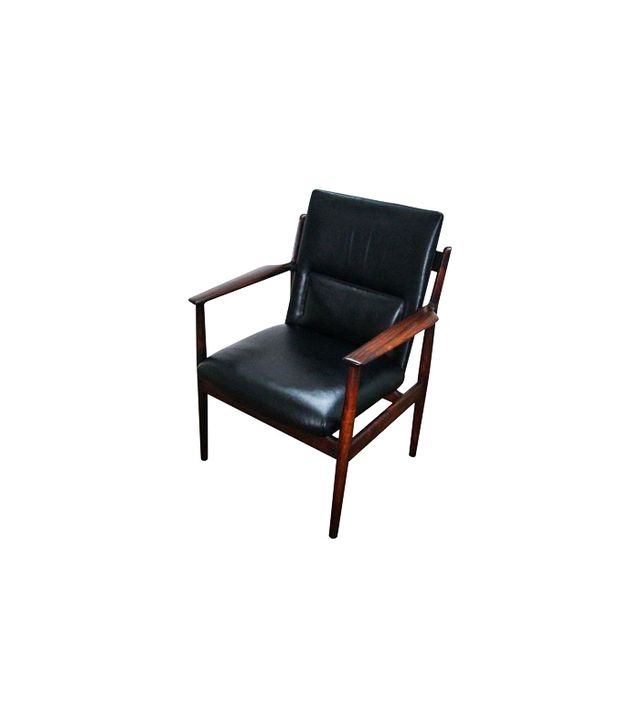 Chairish Danish Modern Rosewood and Black Leather Arm Chair