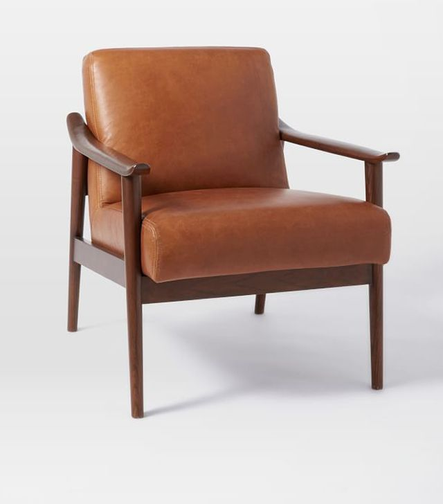 West Elm Mid-Century Leather Show Wood Chair