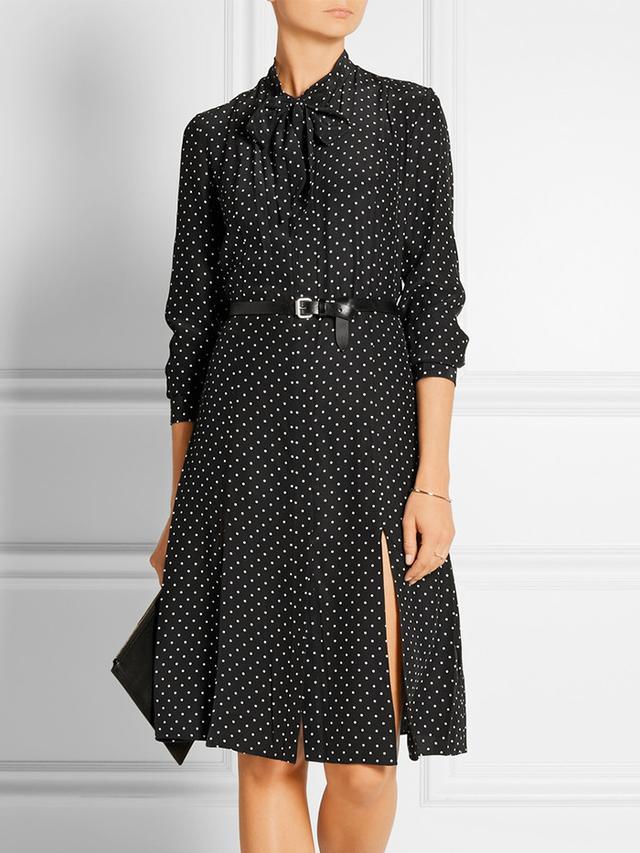 Frame Denim Le Shirt Polka-Dot Silk-Charmeuse Dress