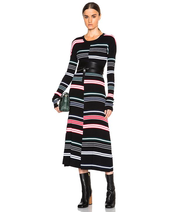 Kenzo Striped and Ribbed Wool Dress