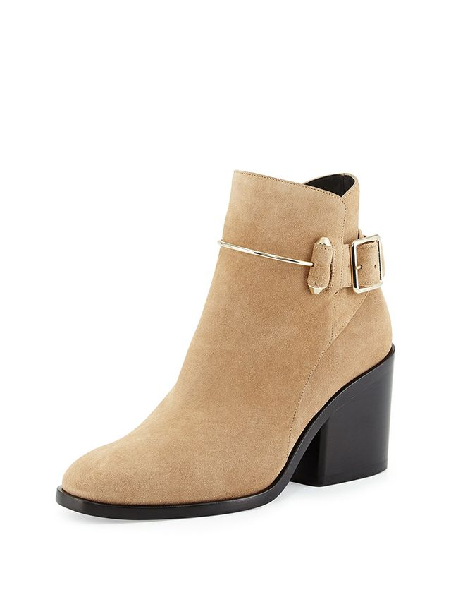Balenciaga Suede Chunky-Heel Ankle Boots
