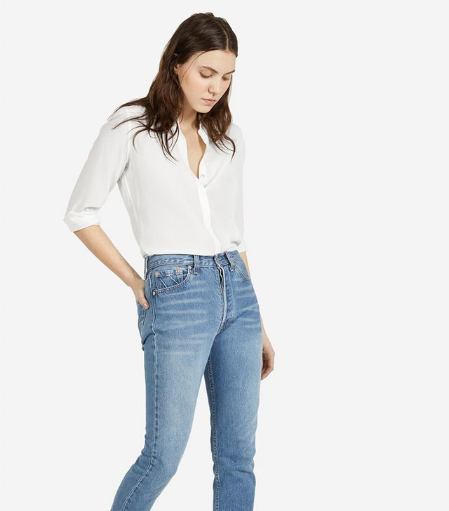 Everlane The Modern Silk Point Collar Blouse
