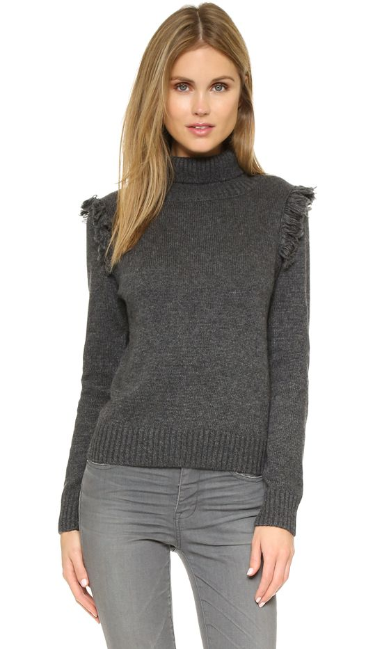 One by Corey Greer Fringe Turtleneck