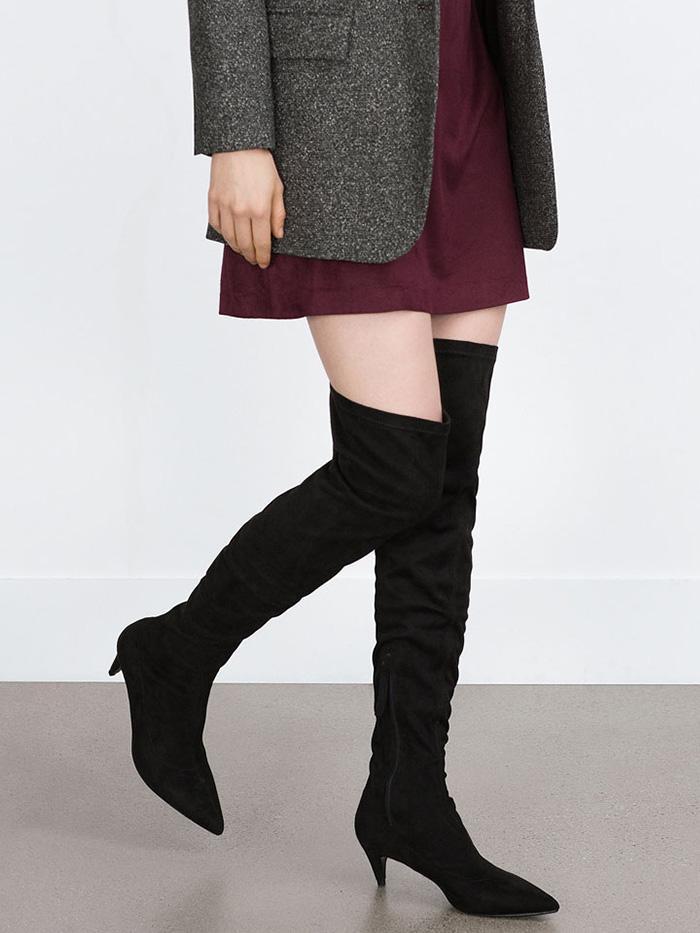 Womens Heels Hot 79692443 Saint Laurent Babies 40 Over The Knee Suede