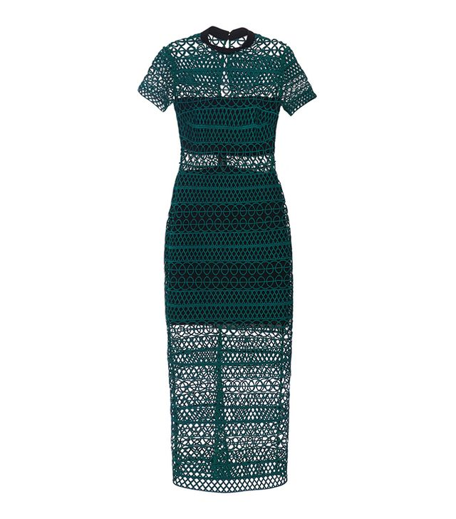Self-Portrait High-Neck Lace Column Midi Dress