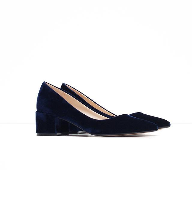 Zara Block Heel Velvet Shoes