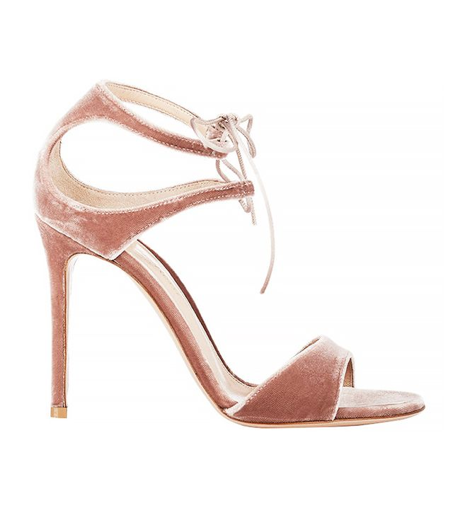 Gianvito Rossi Velvet Darcy Double-Strap Sandals