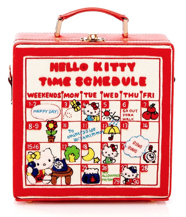Olympia Le-Tan Time Schedule 7-Inch Handbag