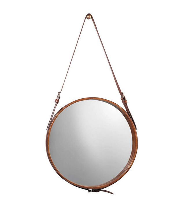 Jamie Young Round Leather Wall Mirror