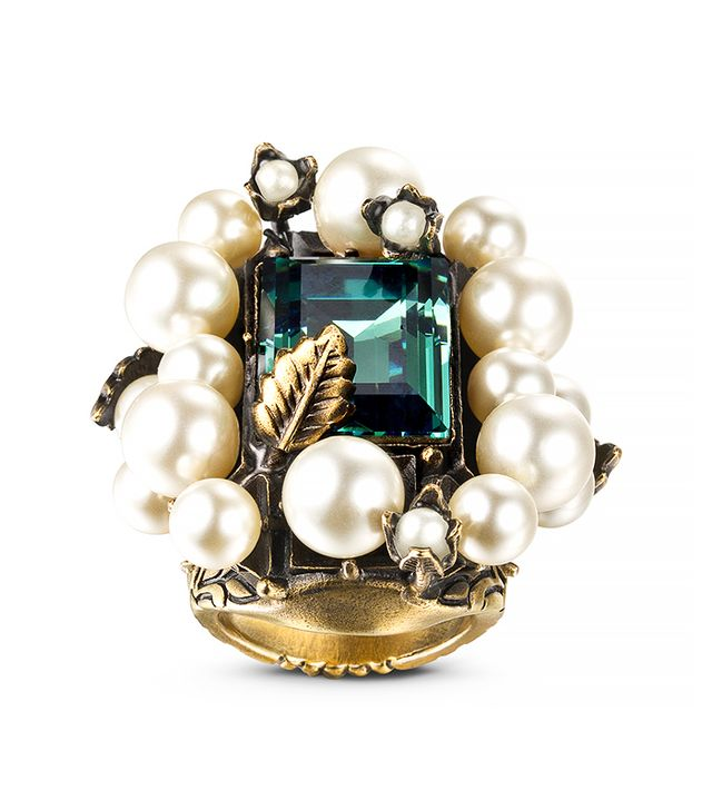 Gucci Crystal and Glass Pearl Ring