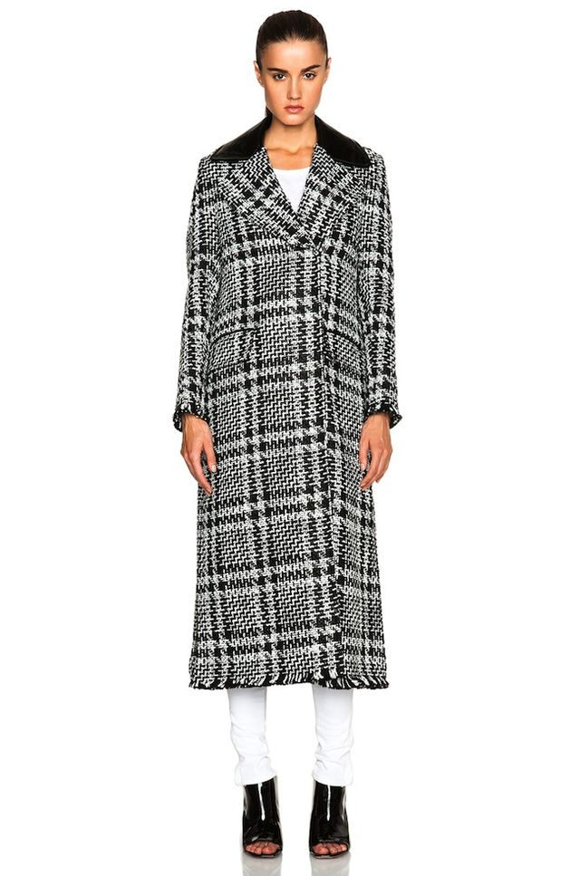 MSGM Optical Tweed Jacket With Patent Leather Collar