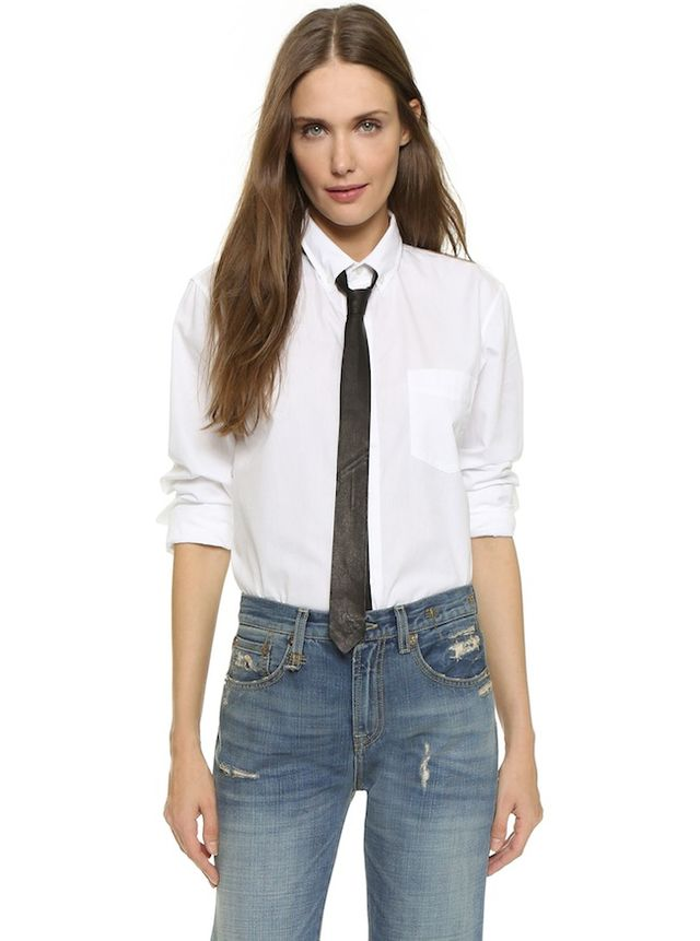 R13 Shirt with Leather Tie
