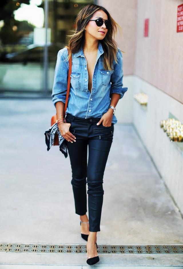 Denim Shirt + Leather Pants + Pumps