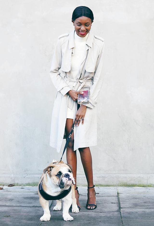 Trench Coat + Sweaterdress + Heels
