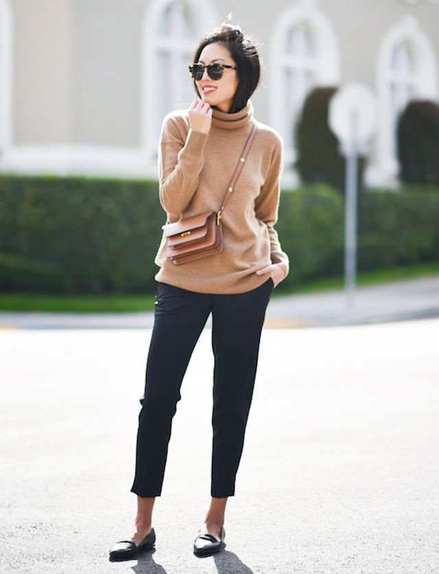 Turtleneck + Trousers + Loafers