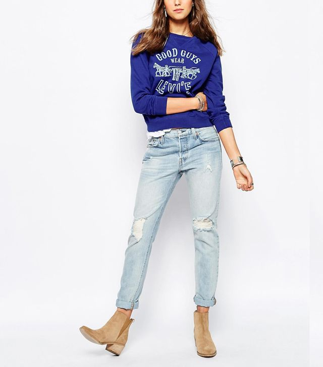 Levi's 501 Customized Vintage Fit Ripped Jeans