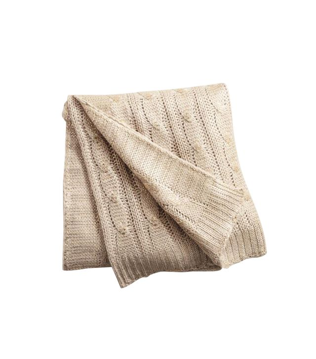 Cost Plus World Market Champagne Metallic Cable Knit Throw
