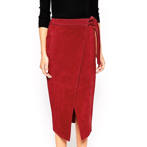 ASOS Suede Pencil Skirt with Obi Self Belt in Red