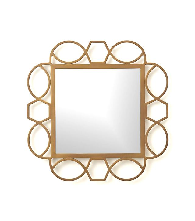 Crate and Barrel Fretwork Brass Square Wall Mirror