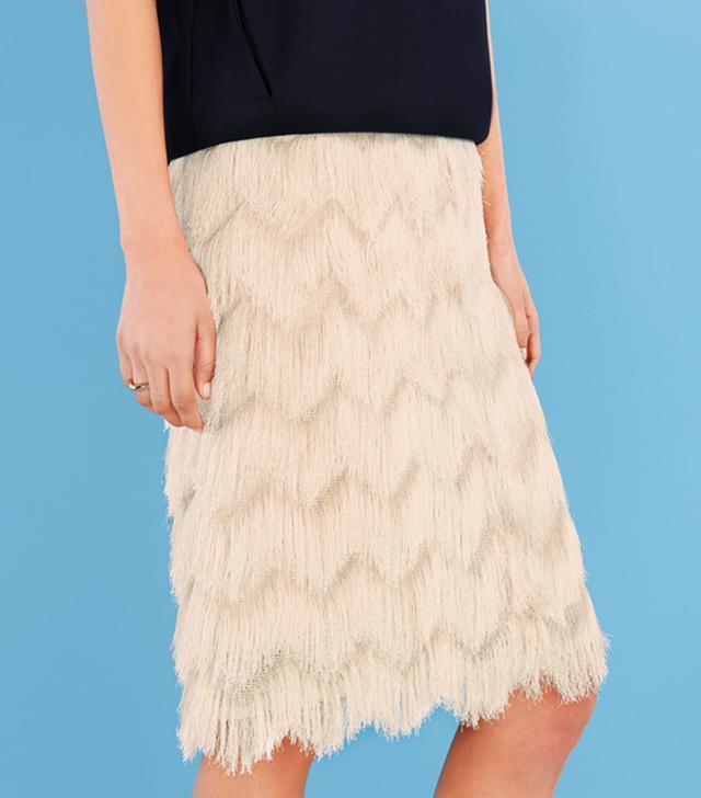 Finery Rowlett Fringed Pencil Skirt