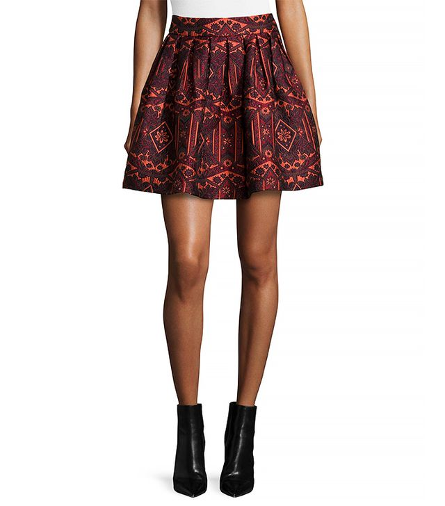 Alice and Olivia Stora Pleated Tribal Print Skirt