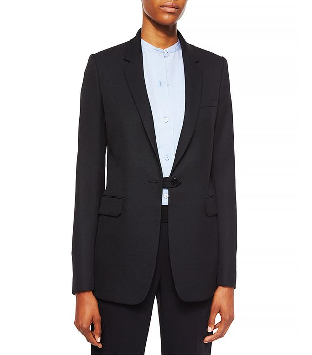 Helmut Lang Wool Button-Tab Long Blazer