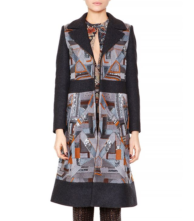 Etro Geometric-Embroidered Combo Fitted Coat