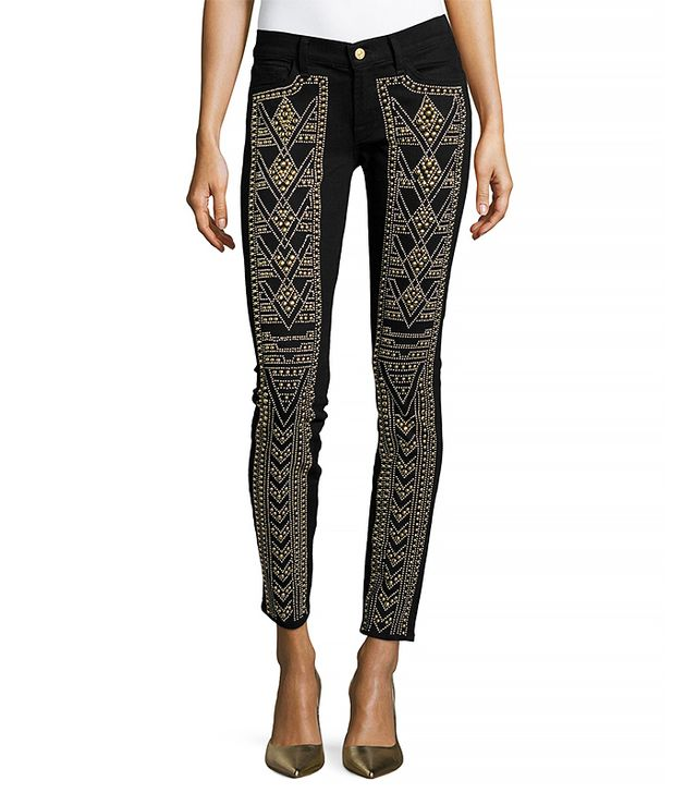 7 for All Mankind Gold-Studded Skinny Jeans