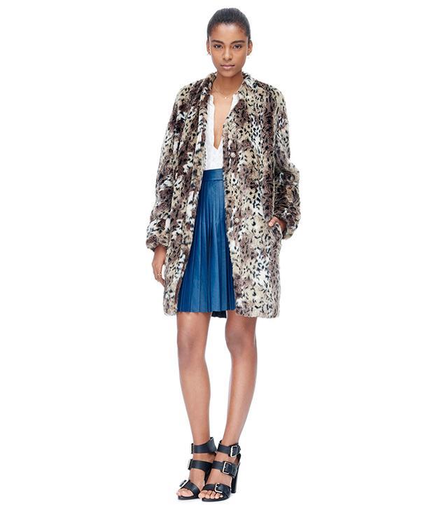 Rebecca Taylor Leopard Faux Fur Coat